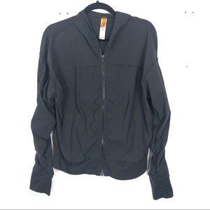 LUCY black zip up running sweater N6
